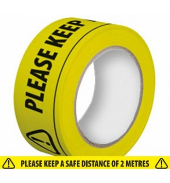 SAFETY TAPE - KEEP TWO METRES APART - Reduced to Clear