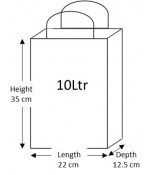 50 White Paper Carrier Bags with Flat Handles Kraft Takeaway Bags H35 x L22 x D12.5