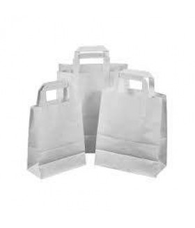 50 White Paper Carrier Bags with Flat Handles Kraft Takeaway Bags H29 x L18 x D8