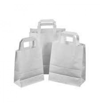 50 White Paper Carrier Bags with Flat Handles Kraft Takeaway Bags H29 x L32 x D16
